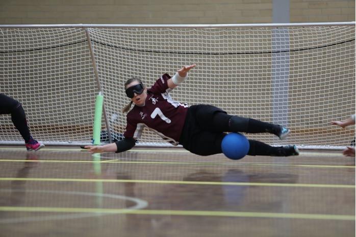 Paralympian Raissa Goalball in action